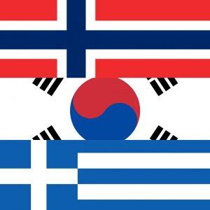 Vlag van Noorwegen, Zuid-Korea en Griekenland
